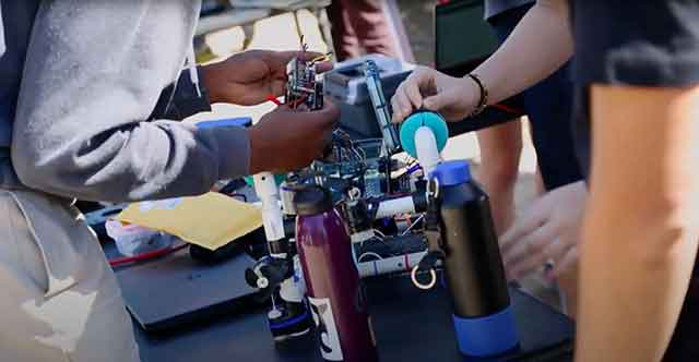 Video of students working on their underwater robots